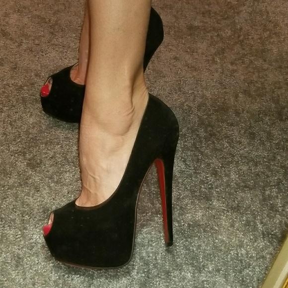 eca7a70152d Bebo faux black suede red sole heels